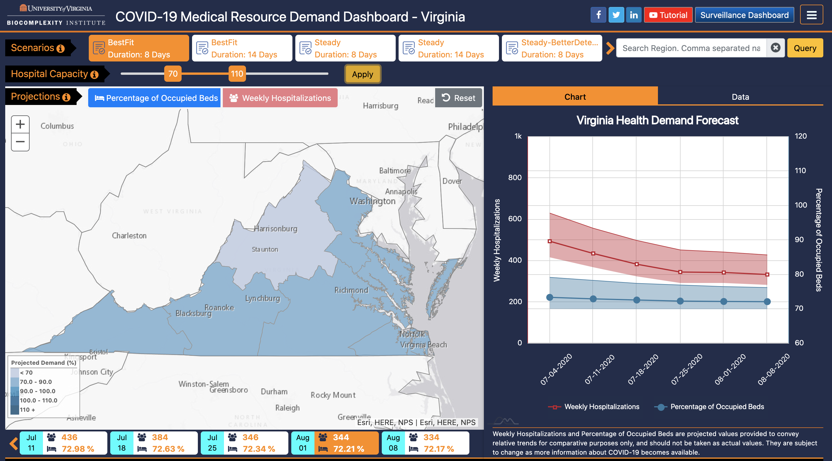 Medical Resource Demand Dashboard with Hospital Capacity slider